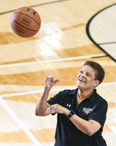 Coach Diane Richardson has gained popularity for her warmth and positivity. Photo courtesy of Towson Athletics.