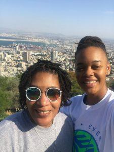 Rebecca Harris, left, and Kristi Bellock overlooking Haifa, Israel.