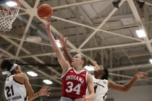 Grace Berger lays the ball up against South Carolina in this weekend's Paradise Jam. The Hoosiers upset the Gamecocks. Photo courtesy of IU Athletics.