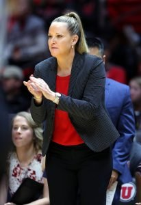 Lynne Roberts is in her fifth season at the Utes' head coach. Steve C. Wilson/University of Utah photo.