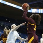 Eboni Walker shoots over Lindsey Corsaro. Maria Noble/WomensHoopsWorld.