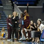 The Sun Devil bench urges on teammates. Maria Noble/WomensHoopsWorld.