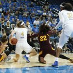Bruin and Sun Devil players fight for ball possession. Maria Noble/WomensHoopsWorld.