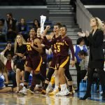 The Sun Devil bench celebrates a bucket. Maria Noble/WomensHoopsWorld.
