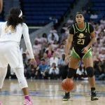 Minyon Moore eyes her passing options. Maria Noble/WomensHoopsWorld.