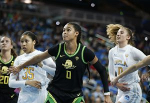 Satou Sabally boxes out UCLA players. Maria Noble/WomensHoopsWorld.
