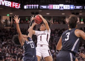 Zia Cooke eyes the basket as she fights Christyn Williams' defense. Photo courtesy of South Carolina Athletics.
