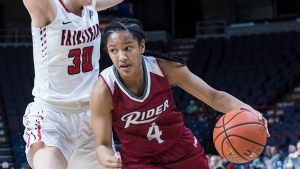 "Stella Johnson is what Rider coach Lynn Milligan calls ""a complete player."" Photo courtesy of Rider Athletics."