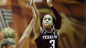 Chennedy Carter ended speculation Sunday by announcing she'd forego her senior season at Texas A&M and enter the 2020 WNBA draft. Photo courtesy of Texas A&M Athletics.