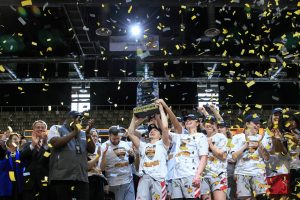 The IUPUI Jaguars hoist the Horizon League Tournament championship trophy two days before the NCAA Tournament was cancelled. Photo courtesy of IUPUI Athletics.