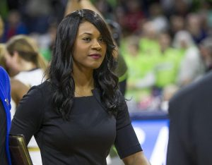 Niele Ivey became just the fourth women's basketball coach at Notre Dame this week, replacing her former coach and mentor Muffet McGraw. Robert Franklin photo.