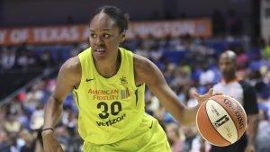 Azura' Stevens brings the ball up court during her rookie season. Layne Murdoch/NBAE via Getty Images.
