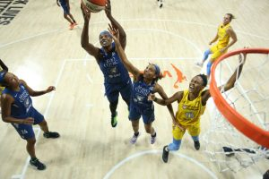 PALMETTO, FL - JULY 30: Sylvia Fowles shoots and scores against the Sky. Photo by Stephen Gosling/NBAE via Getty Images.