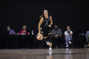 Sabrina Ionescu brings the ball up court in her WNBA debut. NBAE/Getty Images photo.