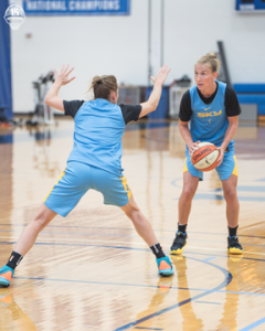Allie Quigley guards Courtney Vandersloot. Photo courtesy of Chicago Sky.