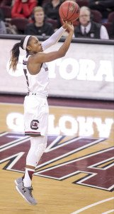Tiffany Mitchell elevates for the basket. Photo courtesy of South Carolina Athletics.