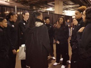 NCAA vice president of women's basketball championships Anucha Browne talks with the 2016 WBCA Division I Coaches' All-America Team. Photo by Sue Favor.