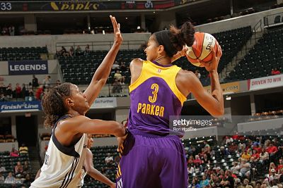 Tamika Catchings guards Candace Parker last summer. Parker and Catchings rank first and second, respectively, in a statistical analysis of the WNBA's top players of all time. Photo by Ron Hoskins/Getty Images/NBA.