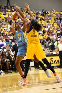 Candace Parker clamps down on rookie Imani Boyette. Photo by Andrew Bernstein/NBAE/Getty Images.