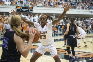 Ariel Atkins has become a vocal leader for Texas this season. Photo courtesy of Texas Athletics.