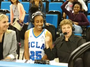 Monique Billings is interviewed by the Pac 12 Network after scoring a career high 30 points. Photo by Sue Favor.