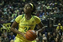 Ruthy Hebard has stepped up big for Oregon in her debut season. Samuel Marshall/Eric Evans Photography.