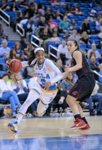 Jordin Canada came off injury and illnesses to put up seven points, dish seven assists and generate a lot of energy for the Bruins. Photo by Zyaire Porter/T.G.Sportstv1.