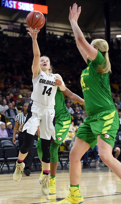 Colorado's Kennedy Leonard goes to the basket on Oregon's Mallory McGuire during the first half of the February 19, 2017 game in Boulder, Colorado. Cliff Grassmick / Staff Photographer / February 19, 2017