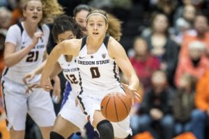Mikayla Pivec worked her way into the starting lineup early in the year for Oregon State. Photo by Karl Maasdam.