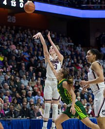 Connecticut's Katie Lou Samuelson was 10-10 from the three-point line for 40 points in Monday's AAC Championship win against South Florida. Photo by Steve Slade.