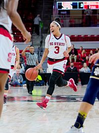 Miah Spencer has been a leader for the Wolfpack this season. Photo courtesy of NC State Athletics.