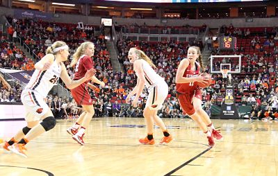 Alanna Smith drives to the basket for Stanford against Oregon State in the Pac-12 Conference championship game earlier this month. Both teams earned a No. 2 seed in the NCAA Tournament bracket. Photo by Michael Houston/T.G.Sportstv1.