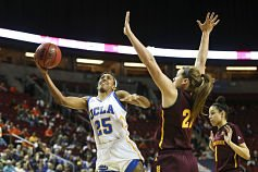 UCLA's Monique Billings had 19 points and 11 rebounds for her 18th double-double of the season. Photo by Eric Evans Photography.
