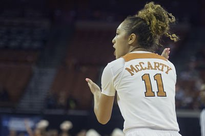 Brooke McCarty rallies the Longhorns. Photo by Patrick Meredith/Texas Athletics.