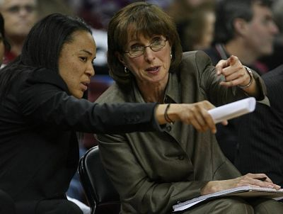 Dawn Staley and Lisa Boyer have known each other for 21 years, since Boyer was her coach in the ABL. Photo by the State.