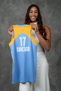 Alaina Coates poses for a portrait after being drafted number two overall by the Chicago Sky during the WNBA Draft on April 13, 2017 at Samsung 837 in New York, New York. Photo by Jennifer Pottheiser/NBAE via Getty Images.