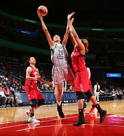 Isabelle Harrison goes to the basket against the Washington Mystics last weekend. Photo by Ned Dishman/NBAE via Getty Images.