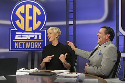 Nell Fortner and Andy Landers on the set of SEC Now. Photo by Travis Bell / ESPN Images.
