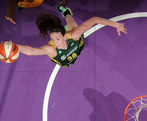 Breanna Stewart unanimously chosen as rookie of the year in 2016. Photo courtesy of Storm Basketball.