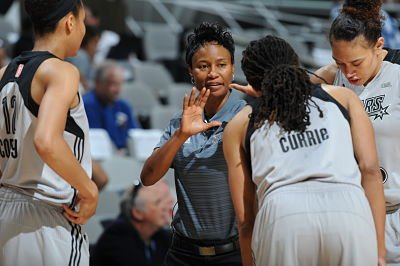 San Antonio Stars coach Vickie Johnson has been with the franchise both as a player, and now as head coach. Photo courtesy of San Antonio Stars/NBAE/Getty Images.