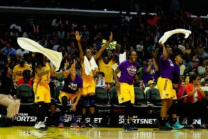 Riquna Williams, Candace Parker, Nneka Ogwumike, Chelsea Gray, Jantel Lavender and Alana Beard celebrate their early0-season win over the Phoenix Mercury. Photo by Maria Noble/WomensHoopsWorld.