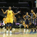 Nneka Ogwumike questions a foul call. Photo by Maria Noble/WomensHoopsWorld.