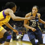 Marissa Coleman looks to get around Nneka Ogwumike. Photo by Maria Noble/WomensHoopsWorld.