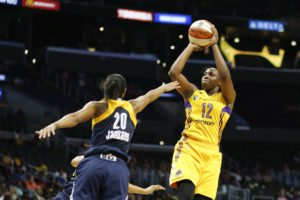 Chelsea Gray launches a shot. Photo by Maria Noble/WomensHoops World.