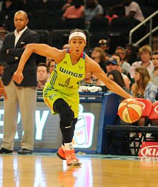Skylar Diggins-Smith scored 21 points against the Fever Tuesday - her sixth consecutive 20-plus-point game. Photo by Stephen Pellegrino/NBAE via Getty Images.