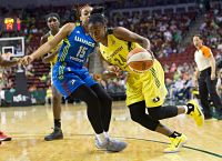 Jewell Loyd drives past Allisha Gray. She tied her season-high with 27 points. Photo by Neil Enns/Storm Photos.