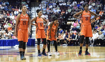 Alyssa Thomas, Jasmine Thomas, Courtney Williams and Jonquel Jones are averaging in double figures for the Connecticut Sun this season. Photo by Khoi Ton/NBAE via Getty Images.
