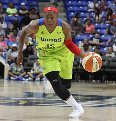 Karima Christmas-Kelly scored 14 points for the Dallas Wings en route to their win over the Storm Friday. Photo by NBAE via Getty Images.