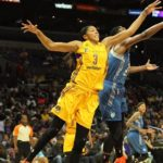 Candace Parker and Sylvia Fowles battle for ball possession. Photo by Benita West/TGSportsTV1.