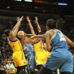 Rebekkah Brunson is trapped by the Sparks defense. Photo by Benita West/TGSportsTV1.